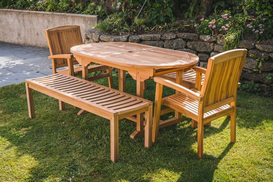 Fixed Teak Oval 1.6m Pedestal Patio Set with 2 Stacking Charlotte Chairs and 2 Backless Benches