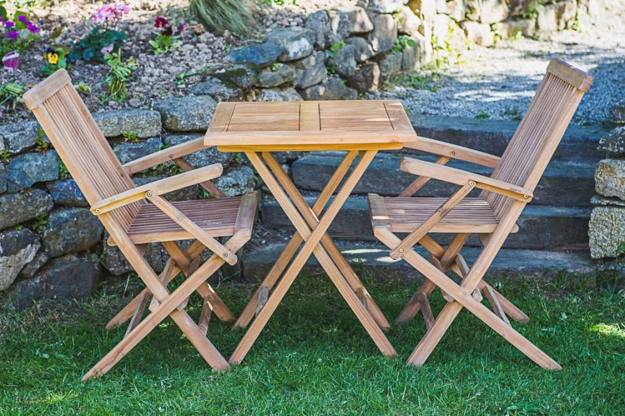 Folding Teak Table and Chair Set