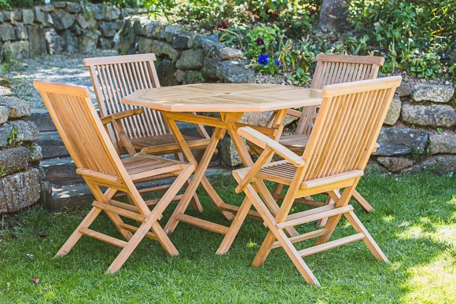 Octagonal Teak Table and Chair Set
