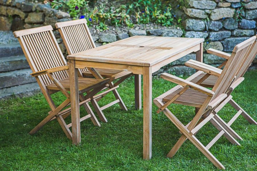 Teak Rectangular Garden Table and Chair Set