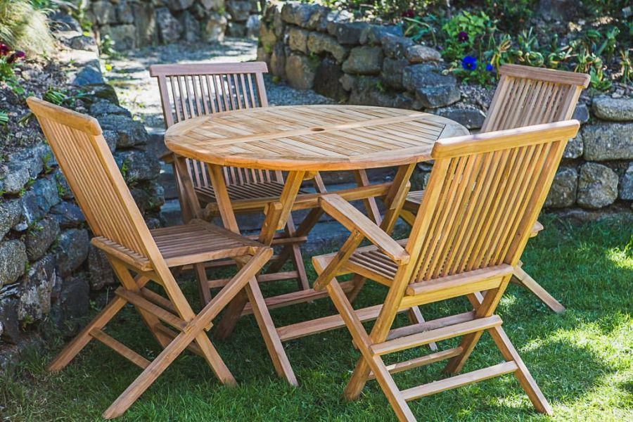 Teak Folding Table and Chair Set