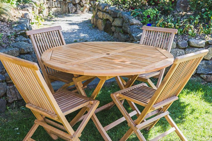 Teak Patio Table and Chair Set