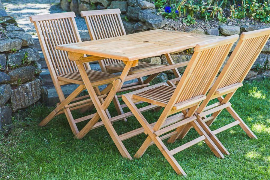 Folding 1.2m Solid Teak Rectangular Garden Table and Chair Set (Combo)