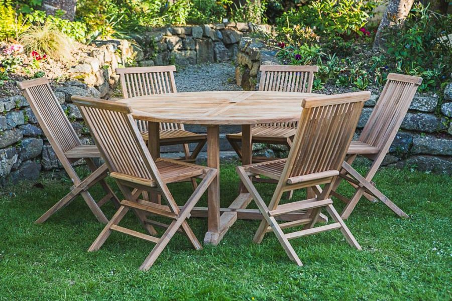 6 Seater Teak Garden Table and Chair Set