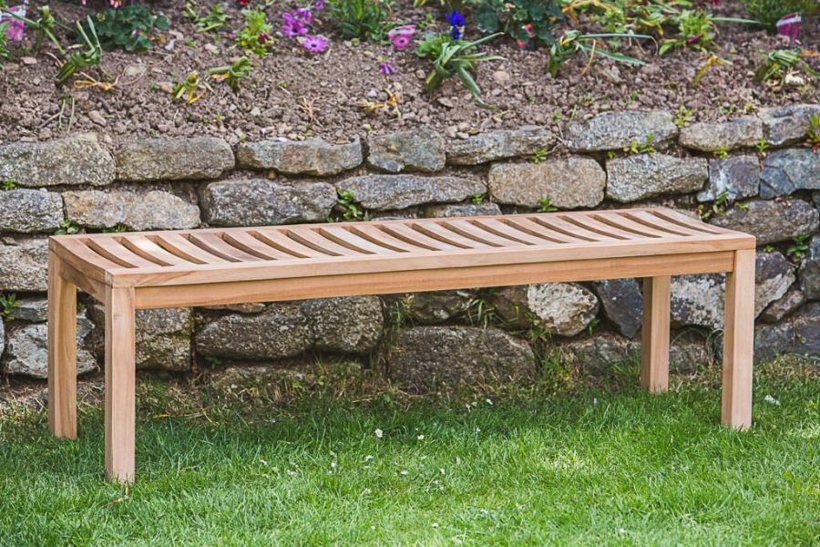 Teak Backless Park Bench