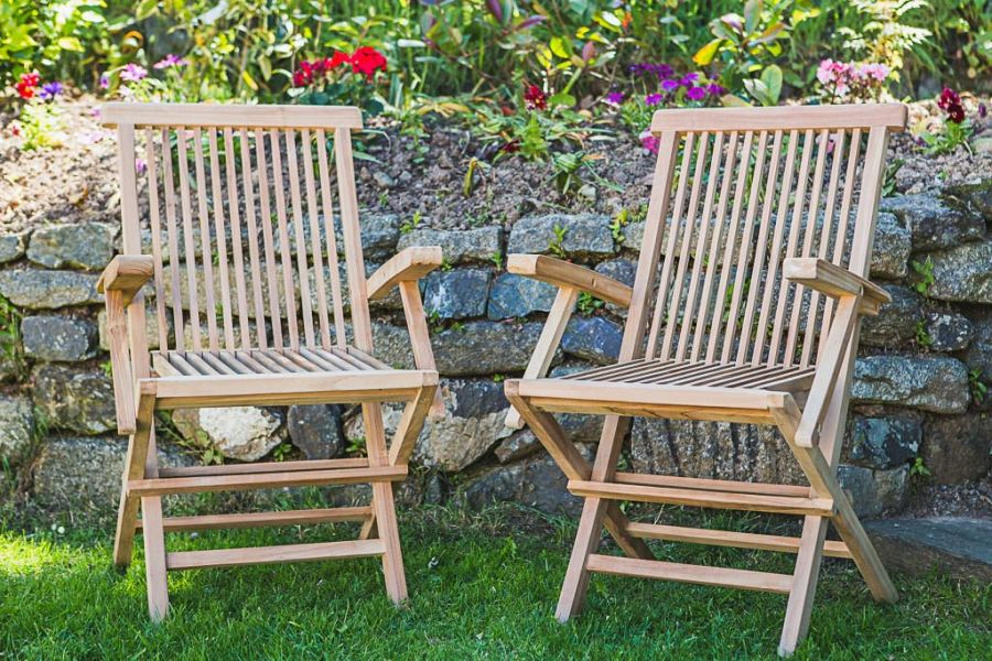 Classic Folding Teak Arm Chair (Pair)