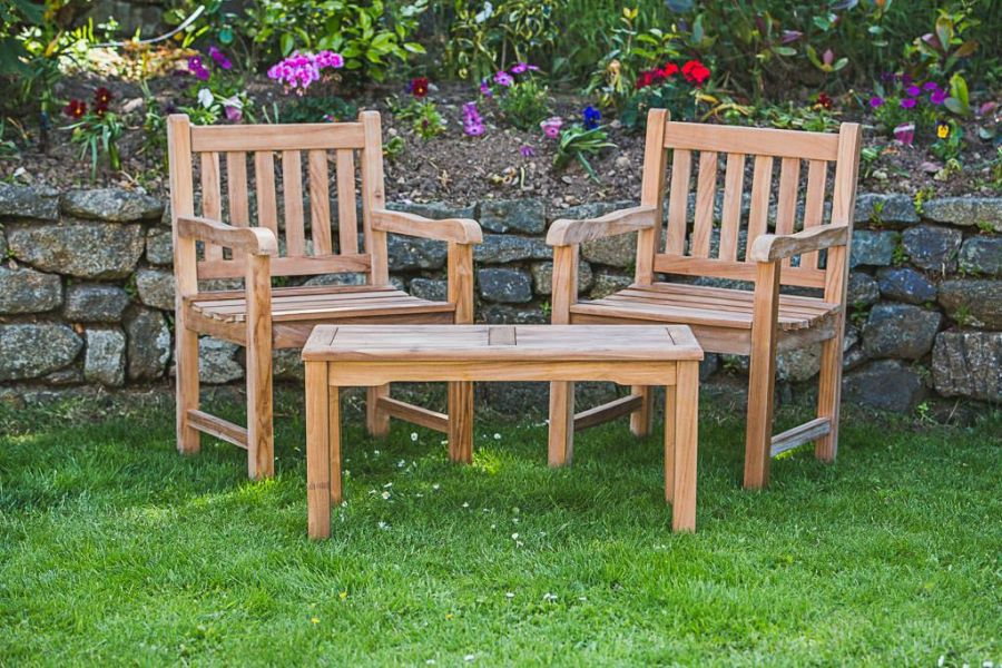 2 Seater Solid Teak Companion Set - Fixed Rectangular Garden Table and Chair Set