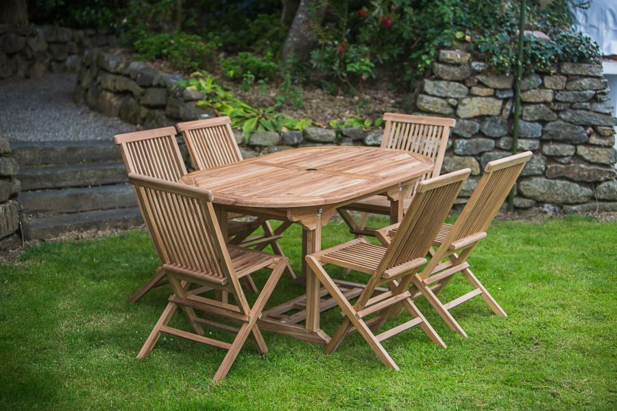 Oval Pedestal Solid Teak 1.6m Table and Folding Chair Patio Furniture Set