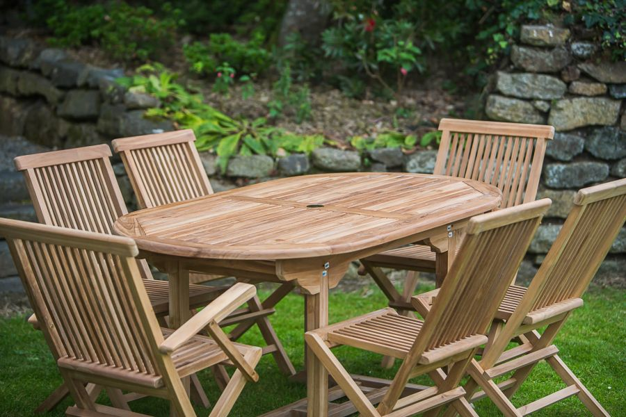 1.6m Solid Teak Oval Pedestal Table and Folding Patio Furniture Set (combo)