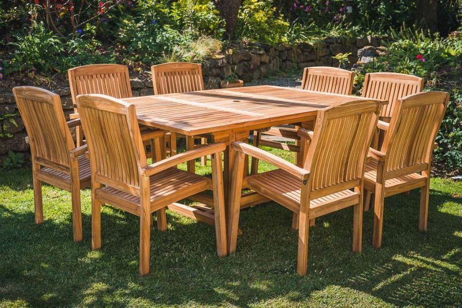Square to Rectangular - 1.2m to 1.8m Extending Table with 8 Fixed Charlotte Stacking Chairs