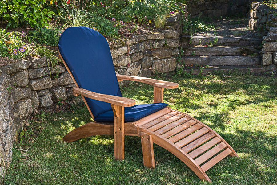Adirondack Garden Chair with Footstool and Cushion