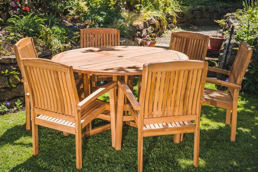 Solid Teak 1.4m Round Folding Pedestal and 6 Fixed Stacking Charlotte chairs